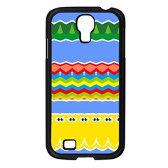 Colorful Chevrons And Waves                 			samsung Galaxy S4 I9500/ I9505 Case (black) by LalyLauraFLM