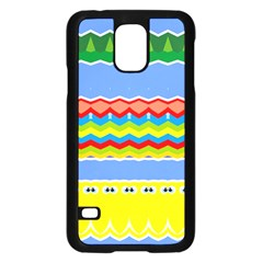 Colorful Chevrons And Waves                 			samsung Galaxy S5 Case (black) by LalyLauraFLM