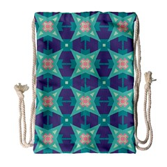 Blue Stars Pattern                  Large Drawstring Bag by LalyLauraFLM