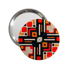 Shapes In Retro Colors Texture                   			2 25  Handbag Mirror by LalyLauraFLM
