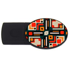 Shapes In Retro Colors Texture                   			usb Flash Drive Oval (4 Gb) by LalyLauraFLM