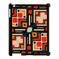 Shapes In Retro Colors Texture                   			apple Ipad 3/4 Case (black) by LalyLauraFLM