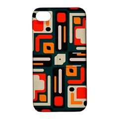 Shapes In Retro Colors Texture                   			apple Iphone 4/4s Hardshell Case With Stand