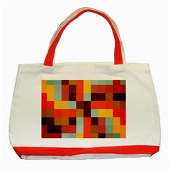Tiled Colorful Background Classic Tote Bag (red) by TastefulDesigns