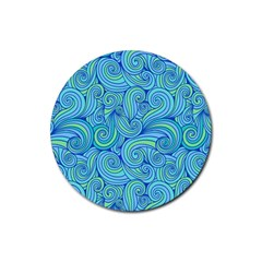 Abstract Blue Wave Pattern Rubber Round Coaster (4 Pack)  by TastefulDesigns