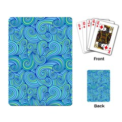 Abstract Blue Wave Pattern Playing Card by TastefulDesigns