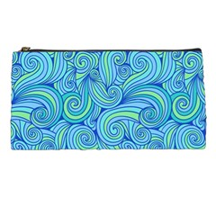 Abstract Blue Wave Pattern Pencil Cases by TastefulDesigns