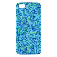 Abstract Blue Wave Pattern Apple Iphone 5 Premium Hardshell Case by TastefulDesigns
