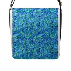 Abstract Blue Wave Pattern Flap Messenger Bag (l)  by TastefulDesigns