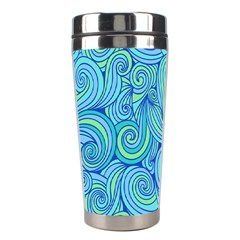 Abstract Blue Wave Pattern Stainless Steel Travel Tumblers by TastefulDesigns