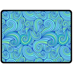 Abstract Blue Wave Pattern Double Sided Fleece Blanket (large)