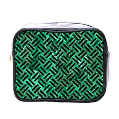 Woven2 Black Marble & Green Marble (r) Mini Toiletries Bag (one Side) by trendistuff