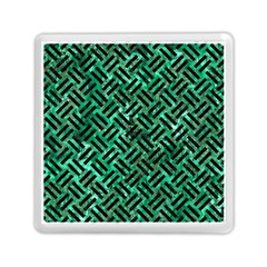 Woven2 Black Marble & Green Marble (r) Memory Card Reader (square) by trendistuff