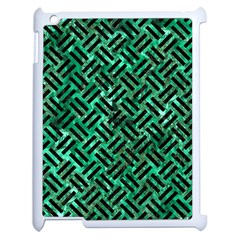 Woven2 Black Marble & Green Marble (r) Apple Ipad 2 Case (white) by trendistuff