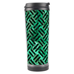 Woven2 Black Marble & Green Marble (r) Travel Tumbler by trendistuff