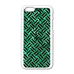Woven2 Black Marble & Green Marble (r) Apple Iphone 6/6s White Enamel Case by trendistuff