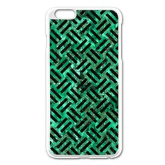 Woven2 Black Marble & Green Marble (r) Apple Iphone 6 Plus/6s Plus Enamel White Case by trendistuff