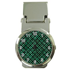 Woven2 Black Marble & Green Marble Money Clip Watch by trendistuff