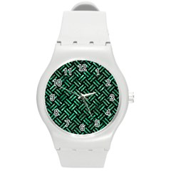 Woven2 Black Marble & Green Marble Round Plastic Sport Watch (m) by trendistuff