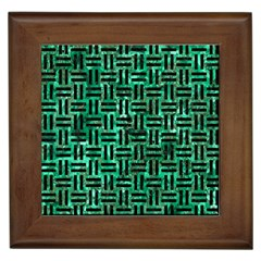 Woven1 Black Marble & Green Marble (r) Framed Tile by trendistuff