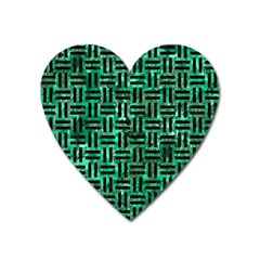 Woven1 Black Marble & Green Marble (r) Magnet (heart) by trendistuff