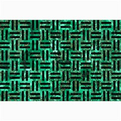 Woven1 Black Marble & Green Marble (r) Collage 12  X 18  by trendistuff