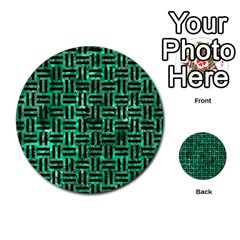 Woven1 Black Marble & Green Marble (r) Multi Purpose Cards (round) by trendistuff