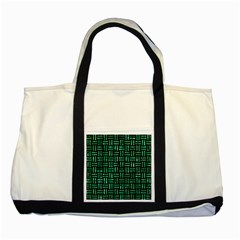 Woven1 Black Marble & Green Marble Two Tone Tote Bag by trendistuff
