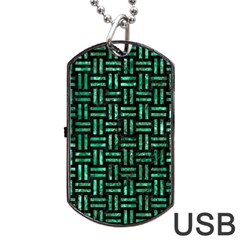 Woven1 Black Marble & Green Marble Dog Tag Usb Flash (two Sides) by trendistuff