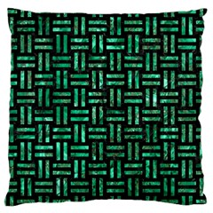 Woven1 Black Marble & Green Marble Large Cushion Case (one Side) by trendistuff