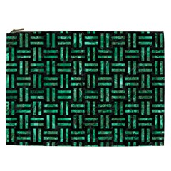Woven1 Black Marble & Green Marble Cosmetic Bag (xxl) by trendistuff