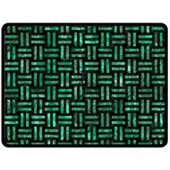Woven1 Black Marble & Green Marble Double Sided Fleece Blanket (large) by trendistuff