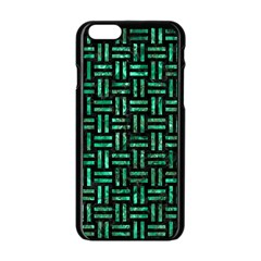 Woven1 Black Marble & Green Marble Apple Iphone 6/6s Black Enamel Case by trendistuff