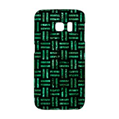 Woven1 Black Marble & Green Marble Samsung Galaxy S6 Edge Hardshell Case by trendistuff