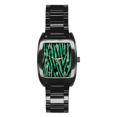 Skin4 Black Marble & Green Marble (r) Stainless Steel Barrel Watch by trendistuff