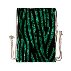 Skin4 Black Marble & Green Marble (r) Drawstring Bag (small) by trendistuff