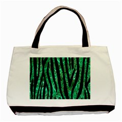Skin4 Black Marble & Green Marble Basic Tote Bag (two Sides) by trendistuff