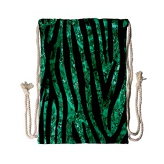 Skin4 Black Marble & Green Marble Drawstring Bag (small) by trendistuff