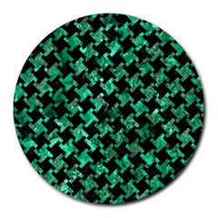 Houndstooth2 Black Marble & Green Marble Round Mousepad by trendistuff
