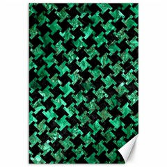 Houndstooth2 Black Marble & Green Marble Canvas 12  X 18  by trendistuff