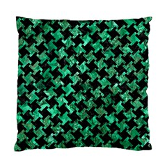 Houndstooth2 Black Marble & Green Marble Standard Cushion Case (two Sides) by trendistuff