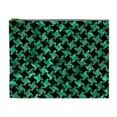 Houndstooth2 Black Marble & Green Marble Cosmetic Bag (xl) by trendistuff