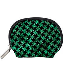 Houndstooth2 Black Marble & Green Marble Accessory Pouch (small) by trendistuff