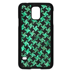 Houndstooth2 Black Marble & Green Marble Samsung Galaxy S5 Case (black) by trendistuff