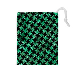 Houndstooth2 Black Marble & Green Marble Drawstring Pouch (large) by trendistuff
