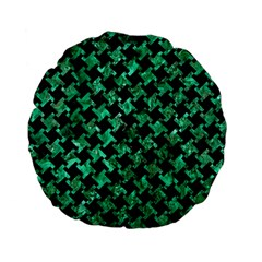 Houndstooth2 Black Marble & Green Marble Standard 15  Premium Flano Round Cushion  by trendistuff