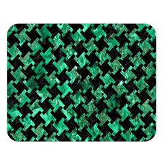 Houndstooth2 Black Marble & Green Marble Double Sided Flano Blanket (large) by trendistuff