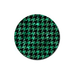 Houndstooth1 Black Marble & Green Marble Rubber Coaster (round) by trendistuff