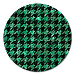 Houndstooth1 Black Marble & Green Marble Magnet 5  (round) by trendistuff