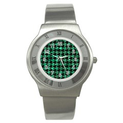 Houndstooth1 Black Marble & Green Marble Stainless Steel Watch by trendistuff